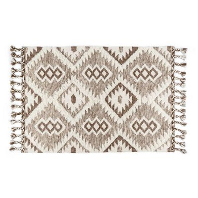 Homescapes Lhasa Handwoven Brown and Cream Textured Diamond Pattern Kilim Wool Rug, 160 x 230 cm
