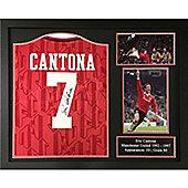 Framed Eric Cantona signed Manchester United shirt