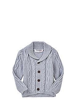 Minoti Cable Knit Shawl Collar Cardigan - Grey