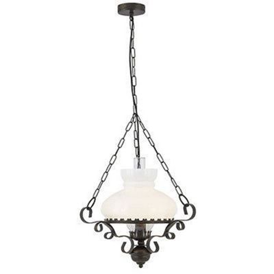 OIL LANTERN RUSTIC WROUGHT IRON