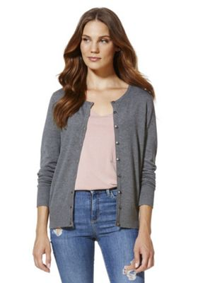 F&F Crew Neck Cardigan with As New Technology 16 Grey