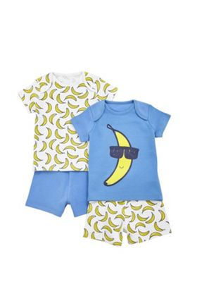 F&F 2 Pack of Banana Print Short Pyjamas Blue/Yellow 6-9 months