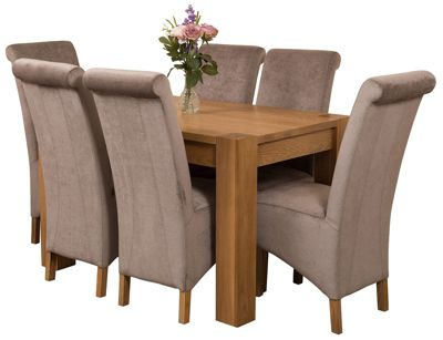 Kuba Chunky 125cm Kitchen Solid Oak Dining Set Table + 6 Grey Fabric Chairs