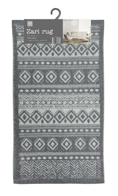 Country Club Zari Design Printed Rug Aztec Grey