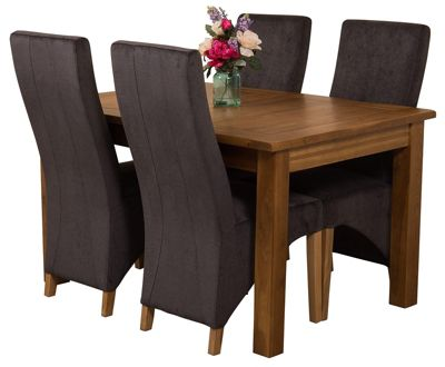 Cotswold Rustic Extending Solid Oak Dining Set Table and 4 Black Fabric Chairs