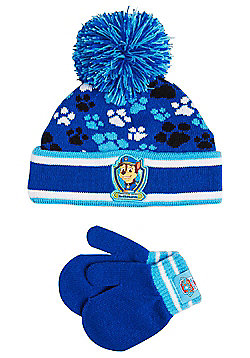 Nickelodeon Paw Patrol Bobble Hat and Mittens Set - Blue