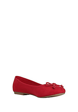 F&F Wide Fit Ballerina Pumps - Red