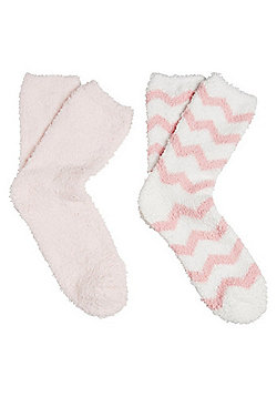 F&F 2 Pair Pack of Zigzag and Plain Cosy Socks - Pink & White