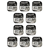10 x Maxell SR626SW/377/AG4/626 Silver Oxide Watch Batteries
