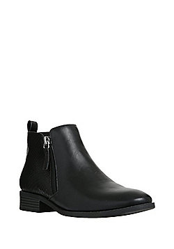 F&F Mock Croc Panel Ankle Boots - Black