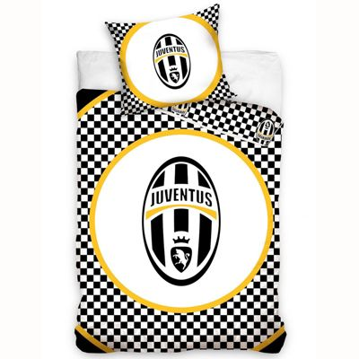 Juventus Checked Single Cotton Duvet Cover and Pillowcase Set