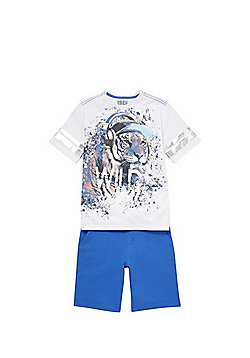 F&F Wild Beats Mesh T-Shirt and Shorts Set - Multi