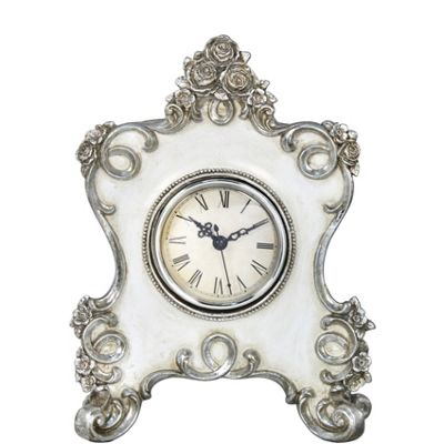 White & Silver Table Clock