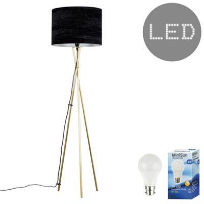 Camden Tripod LED Floor Lamp - Gold & White