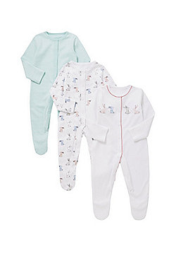 F&F 3 Pack of Bunny Sleepsuits - White & Multi