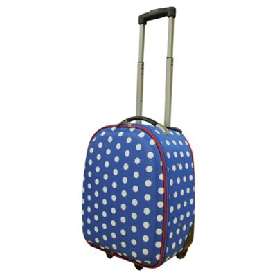 Tesco 2-Wheel Polka Dot Suitcase, Blue Small