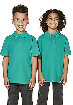"F&F School 2 Pack of Boys Teflon EcoElite""™ Polo Shirts with As New Technology - Jade"