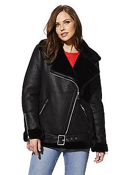 F&F Faux Shearling Aviator Jacket - Black