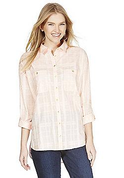 F&F Textured Check Boyfriend Shirt - Pink