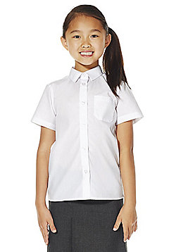 F&F School 2 Pack of Girls Non-Iron Short Sleeve School Shirts - White
