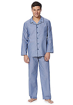 F&F Piped Revere Collar Pyjamas - Blue
