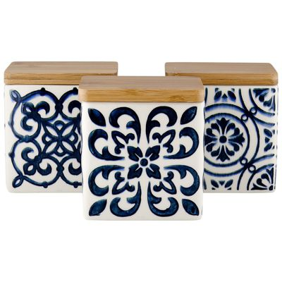 Ladelle Coventry Blue Square Canister, Set of 3
