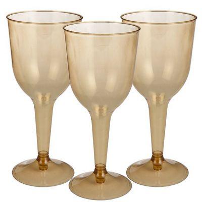 Gold Plastic Wine Glasses - 295ml - 20 Pack