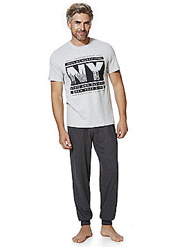 F&F NYC Slogan T-Shirt Loungewear Set - Grey