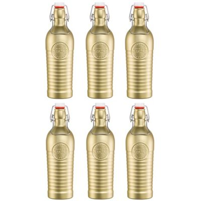 Bormioli Rocco Officina 1825 Vintage Flip Top Glass Bottle - 1200ml (37.25oz) - Gold - Set of 6