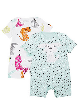 F&F 2 Pack of Dog Print Rompers - Mint Multi