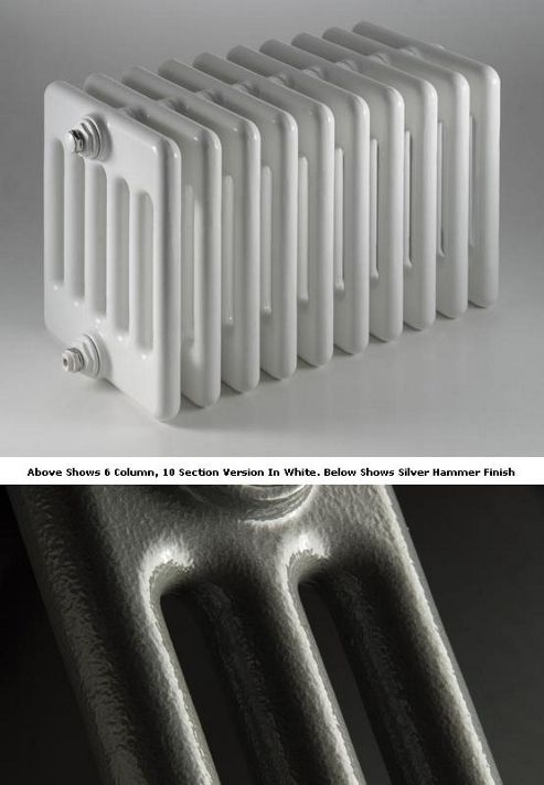 DQ Heating Peta 3 Column Designer Radiator - 592mm High x 1485mm Wide - 33 Sections - Silver Hammer