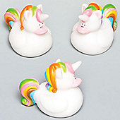 Rainbow Unicorn Rubber Ducks Perfect Party Bag Filler for Children to Play With (Pack of 4)