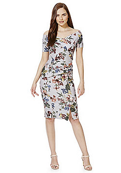 Feverfish Floral Print Bardot Dress - Grey & Multi