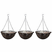 3 x 16-inch Natural Rattan Hanging Basket