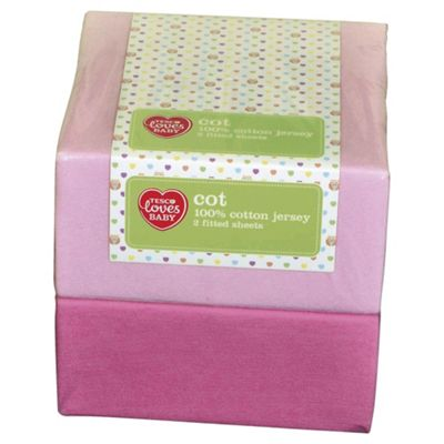 Tesco Loves Baby Cot Jersey Fitted sheet 2 pack Pink
