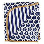 Pigeon Organics Reversible Blanket, Nautical (Blue)