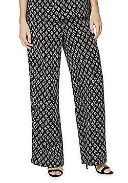 JDY Diamond Print Wide Leg Trousers - Navy