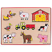 Bigjigs Toys Chunky Lift Out Puzzle - Farm