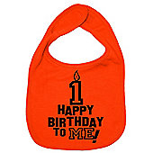 Dirty Fingers Happy 1st Birthday to me! Baby Bib Orange