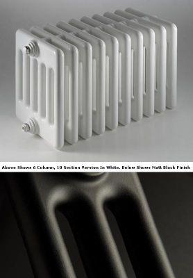 DQ Heating Peta 4 Column Designer Radiator - 292mm High x 315mm Wide - 7 Sections - Matt Black