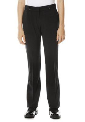 F&F School D-Ring Detail Straight Leg Trousers 11-12 years Black