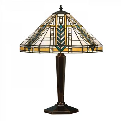 Table Light - Tiffany style glass & deep antique patina