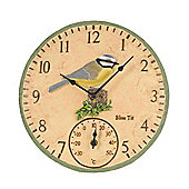 Outside In Blue t*t Wall Clock and Thermometer 12in
