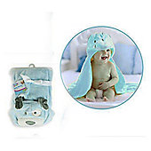 First Steps 3D Hooded Fleece Baby Blanket - Blue