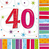 40th Birthday Radiant Luncheon Napkins - 2ply Paper - 16 Pack