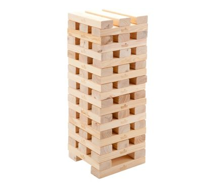 Garden Games Super Giant Hi-Tower - Builds from 0.9m up to 2.3m (max) during play. Solid Pine Wooden Tumble Tower Game