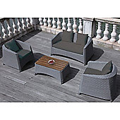 BrackenStyle Four Seat Rattan Sofa Set & Cushions - Dark Grey