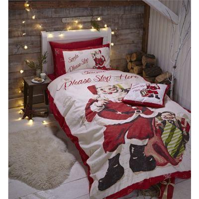Catherine Lansfield Retro Santa Christmas Duvet Cover Set - King