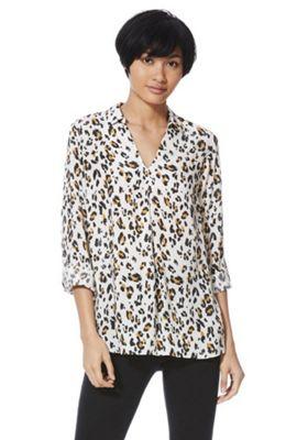 F&F Animal Print V-Neck Collarless Shirt Multi 18
