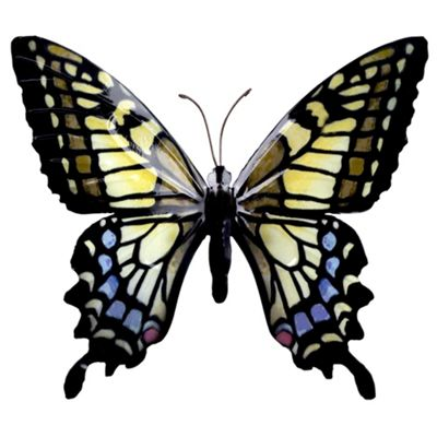Black, Yellow & Blue Coloured Metal Wall Mountable Butterfly Garden Ornament